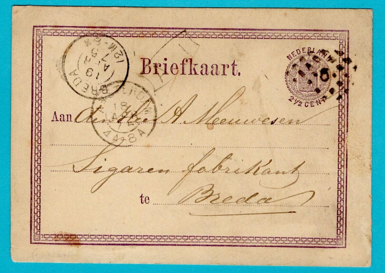 NEDERLAND briefkaart 1875 puntstempel
