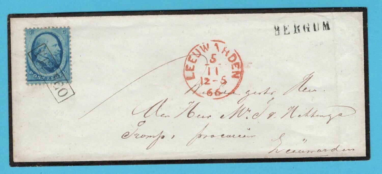 NEDERLAND rouwbrief 1866 Bergum naar Leeuwarden