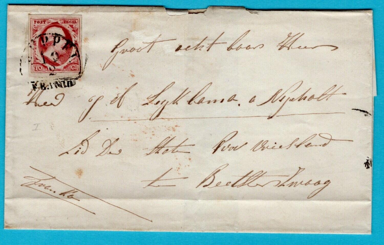 NEDERLAND omslag 1852 (?) Smilde met franco halfrond Meppel