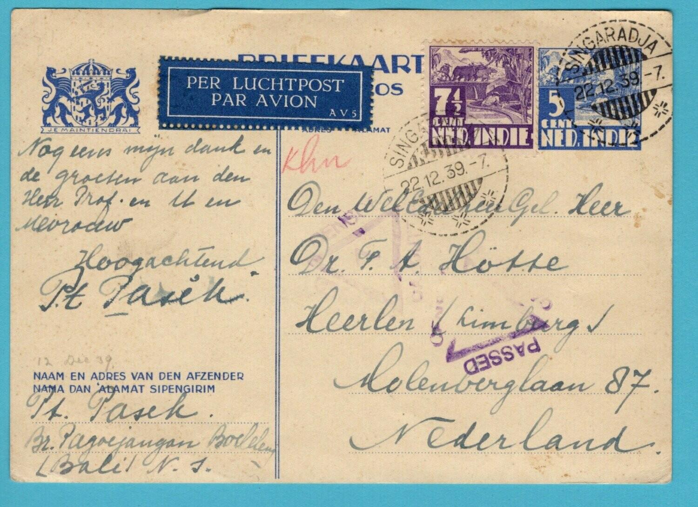 NETHERLANDS EAST INDIES censor air card 1939 Singaradja to Heerlen