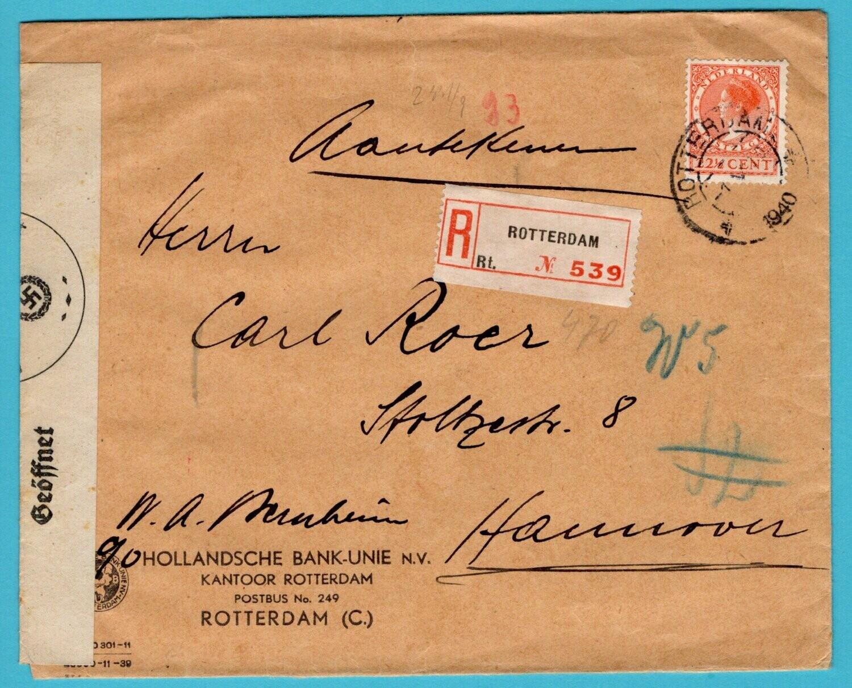 NEDERLAND R brief 1940 Rotterdam naar Duitsland met censuur