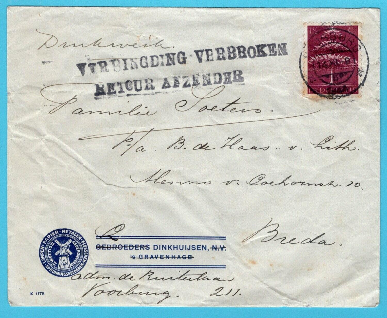 NEDERLAND brief 14-XI-1944 Voorburg naar Breda -retour afzender
