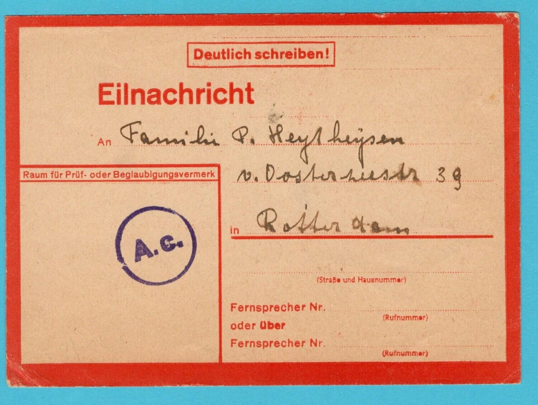 NEDERLAND kaart 1944 met levensteken uit M'Gladbach