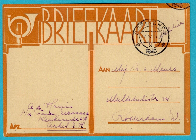 NEDERLAND kaart militair 27-V-1940 Gorinchem naar Rotterdam