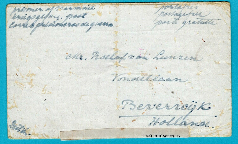NEDERLAND PoW brief 1942 Engeland naar Beverwijk -Nederlandse taal