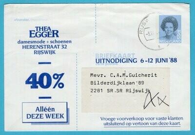 NEDERLAND briefkaart privé bedrukt 1988 Rijswijk damesmode