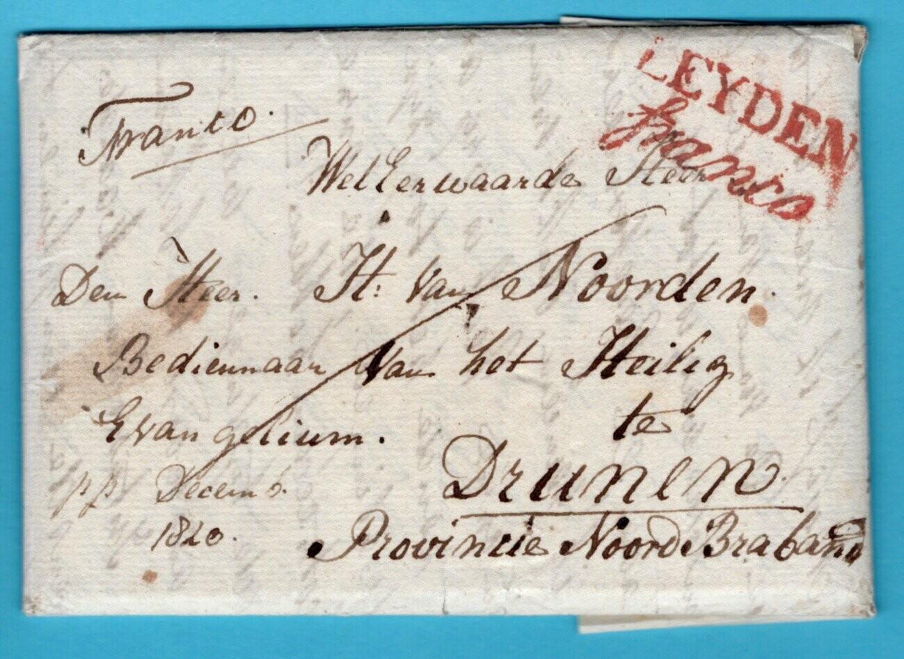 NEDERLAND complete brief 1820 Leiden franco naar Drunen