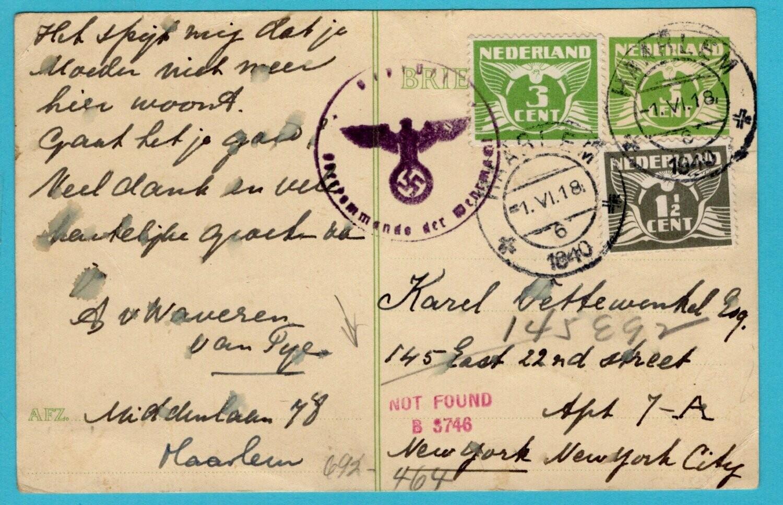 NEDERLAND censuur briefkaart 1-VI-1940 Haarlem naar USA -tekst!