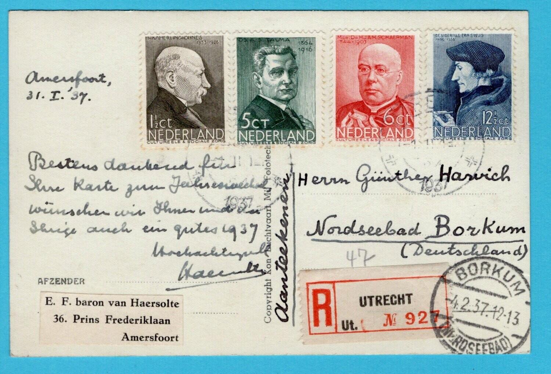 NEDERLAND R prentbriefkaart Pelikaan 1937 Utrecht