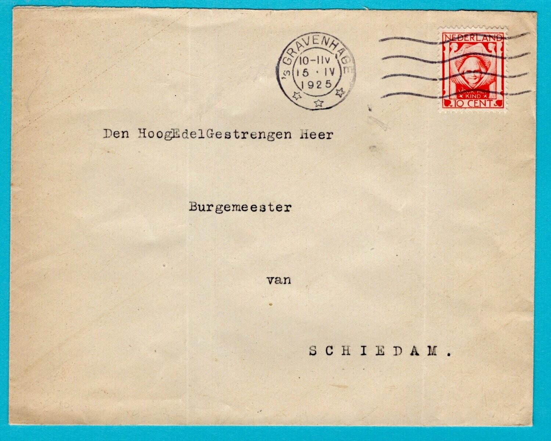 NEDERLAND brief 1925 Den Haag met Doris Rijker sluitzegel