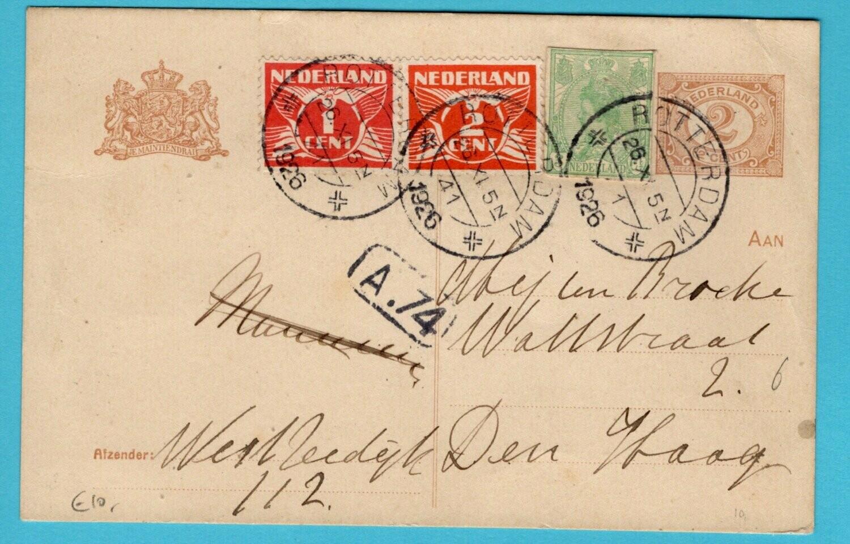 NEDERLAND briefkaart 1926 Rotterdam met uitknipsel bontkraag