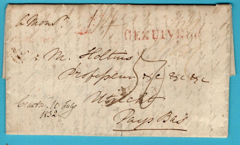 NEDERLAND brief 1832 GEZUIVERD van Engeland naar Utrecht