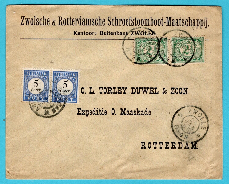 NEDERLAND brief 1905 Zwolle met port belast Rotterdam