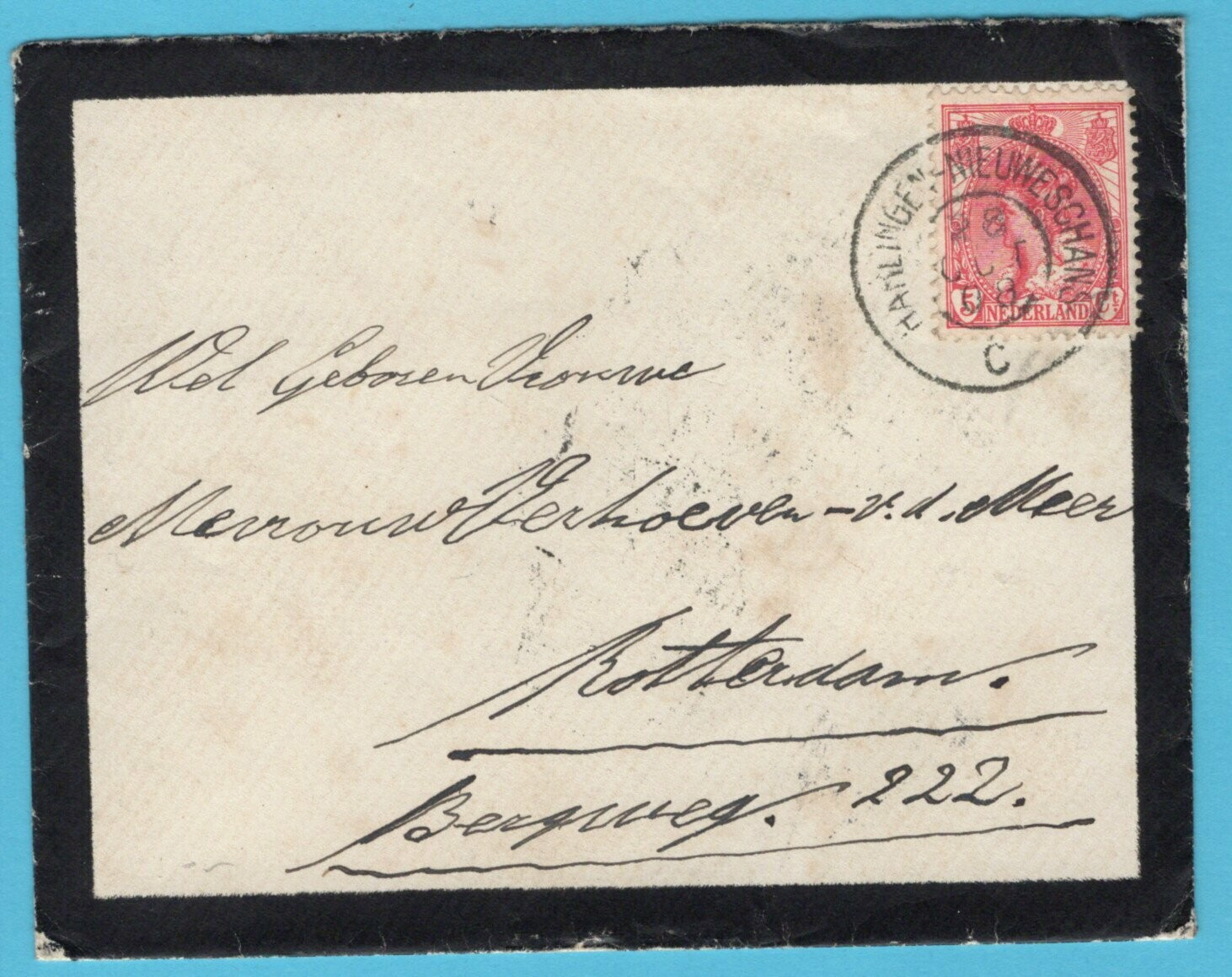 NEDERLAND rouwbrief 1908 Harlingen-Nieuweschans treinstempel
