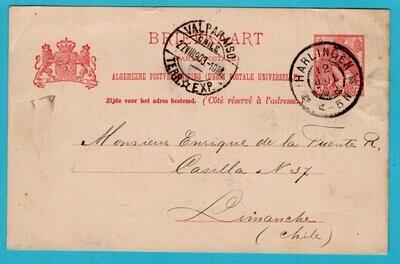 NEDERLAND briefkaart 1903 Harlingen naar Chili