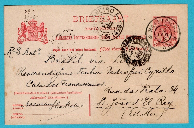 NEDERLAND briefkaart 1906 Maastricht naar Brazilië