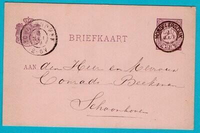 NEDERLAND briefkaart 1899 Honselerdijk naar Schoonhoven