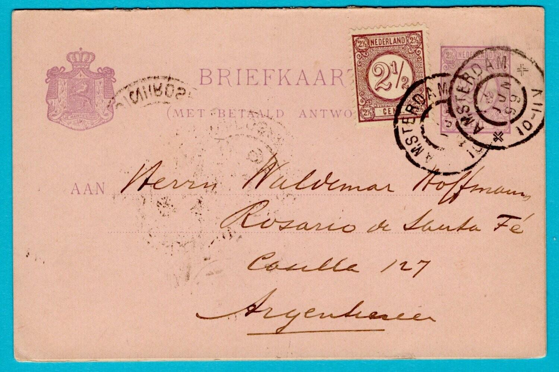 NEDERLAND dubbele briefkaart 1899 Amsterdam naar Argentinië