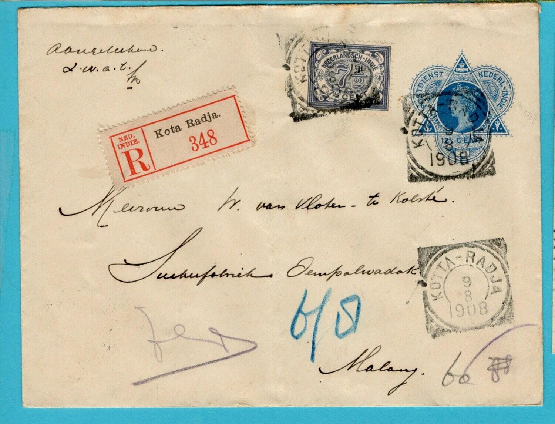 NETHERLANDS EAST INDIES R envelope 1908 Kotta Radja