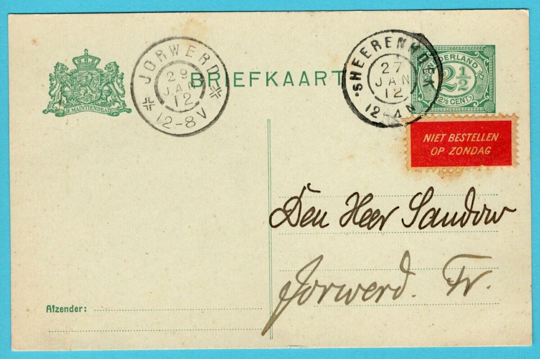 NEDERLAND briefkaart 1912 's Heerenhoek
