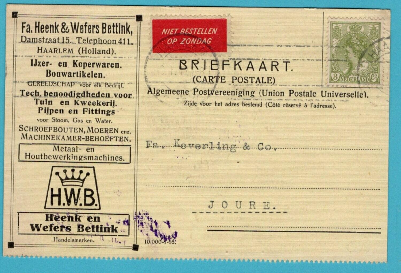 NEDERLAND briefkaart 1917 Haarlem