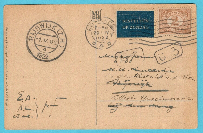 NEDERLAND briefkaart 1922 Rotterdam naar Rijswijk en doorgestuurd