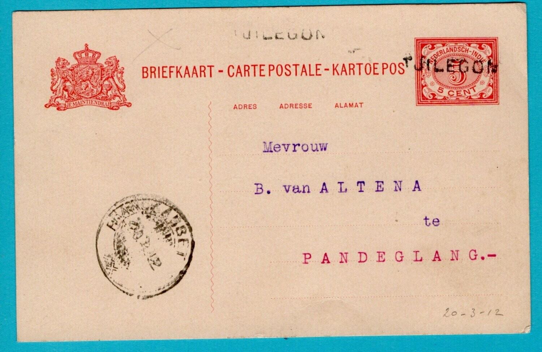 NETHERLANDS EAST INDIES postal card 1912 Tjilegon