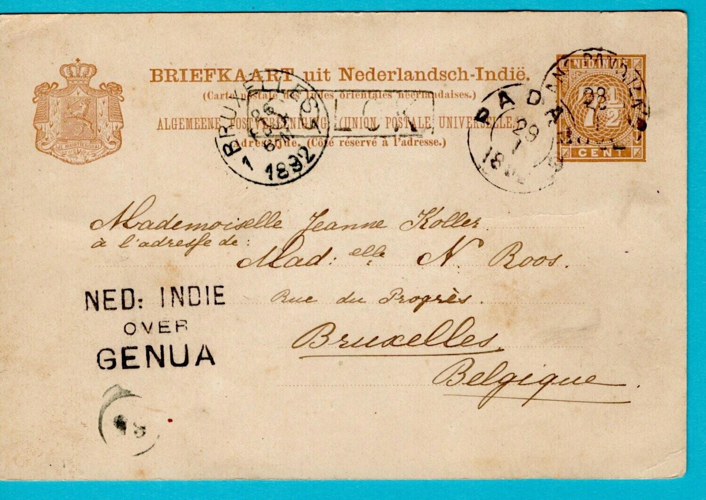 NETHERLANDS EAST INDIES postal card 1892 Solok to Belgium