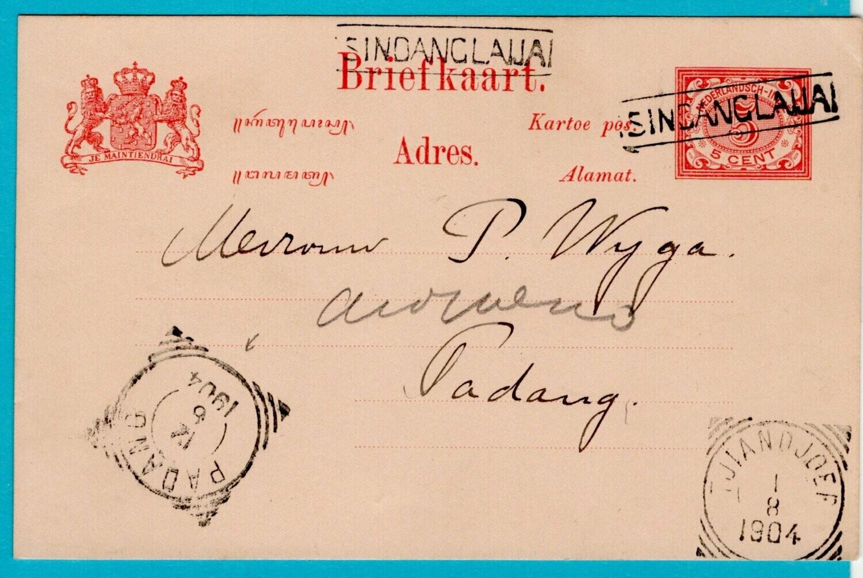 NETHERLANDS EAST INDIES postal card 1904 Singanglaija
