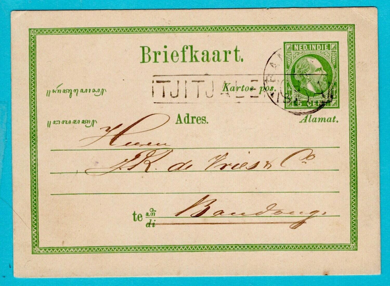 NETHERLANDS EAST INDIES postal card 1881 Tjitalenka