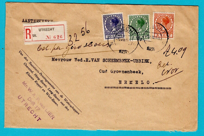 NEDERLAND R brief 1931 Utrecht naar Ermelo