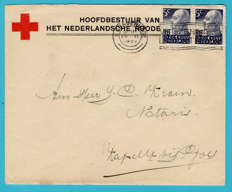 NEDERLAND Rode Kruis brief 1927 Den Haag naar Kapelle bij Goes