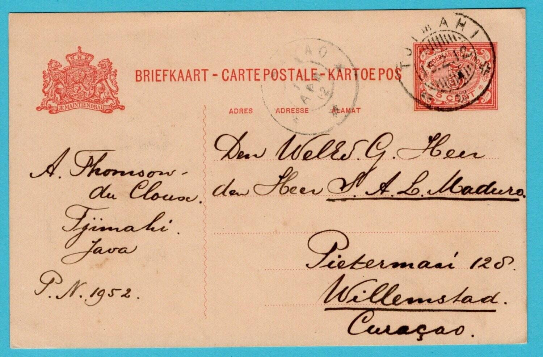 NETHERLANDS EAST INDIES postal card 1912 Tjimahi to Curaçao
