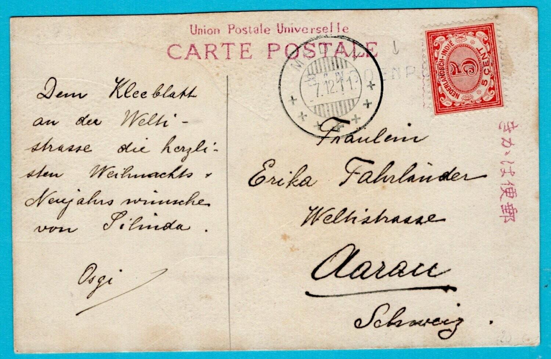 NETHERLANDS EAST INDIES PPC 1911 Bangoenpoerba line cancel