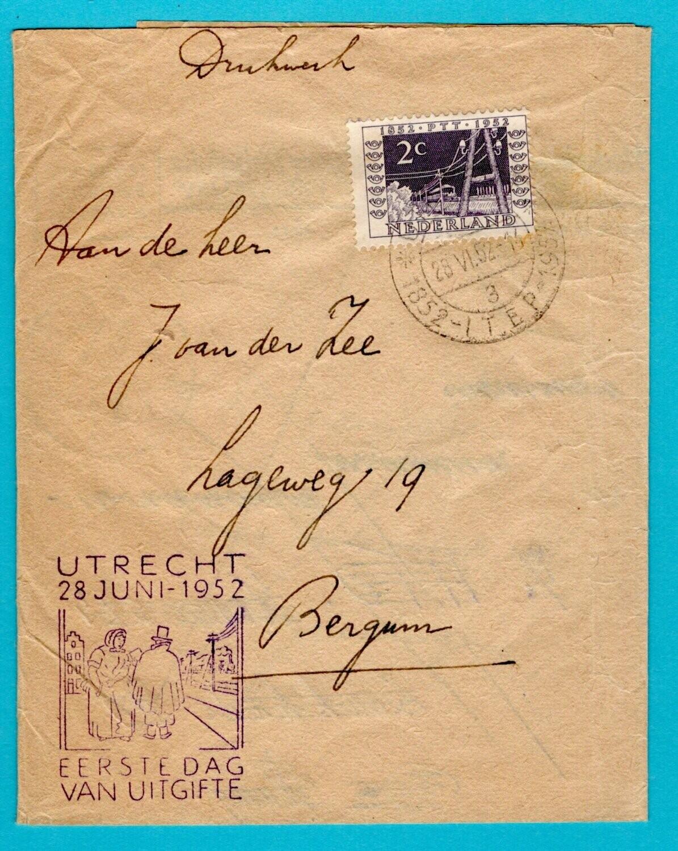 NEDERLAND krantenbandje 1952 Utrecht ITEP 1e dag van uitgifte
