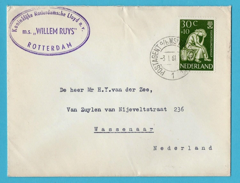 NEDERLAND scheepsbrief 1961 M.S Willem Ruys naar Wassenaar