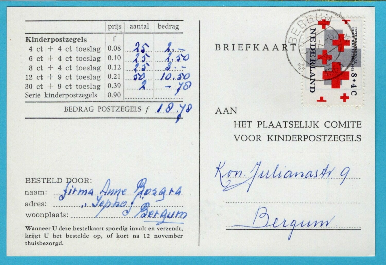 NEDERLAND bestelkaart kinderpostzegels 1963 Bergum