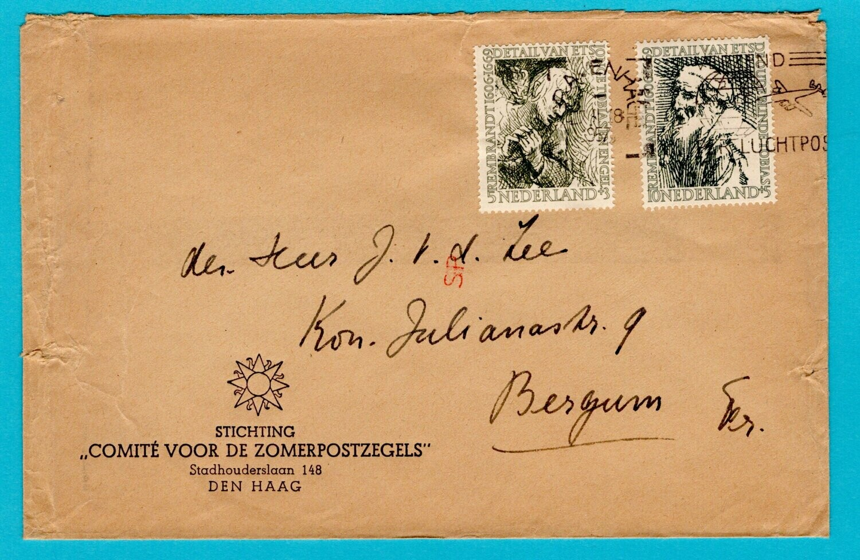 NEDERLAND brief 1957 Den Haag Rembrandt zegels