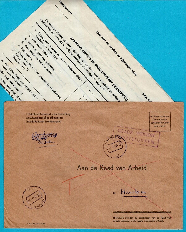 NEDERLAND brief 1968 Haarlem Raad v. Arbeid beport en retour