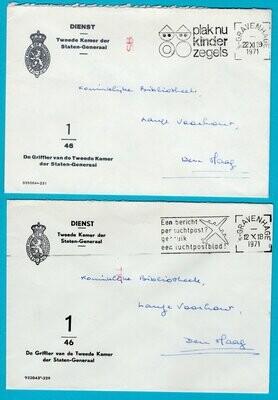 NEDERLAND 2 dienstbrieven 1971 Den Haag griffier 2e kamer