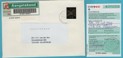 NEDERLAND R brief 2001 Bussum zilver zegel + ontvangst
