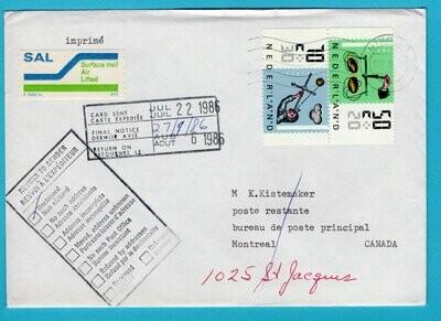 NEDERLAND brief 1986 Utrecht naar Canada en retour