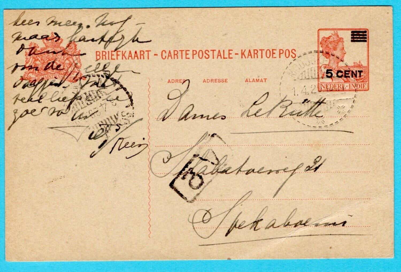 NETHERLANDS EAST INDIES postal card 1929 Modjokerto