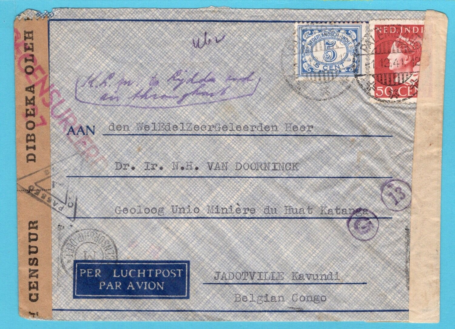 NETHERLANDS EAST INDIES censor air cover 1941 Palembang to Congo