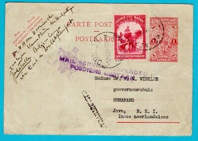 BELGIAN CONGO postal card 1942 to D.E. Indies service suspended