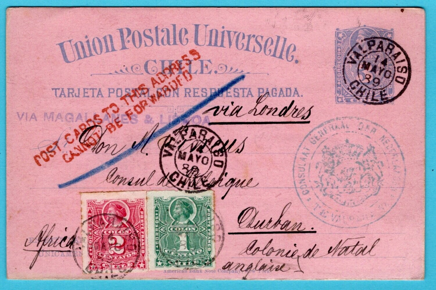 CHILE postal card with reply 1889 Valparaiso to Natal returned