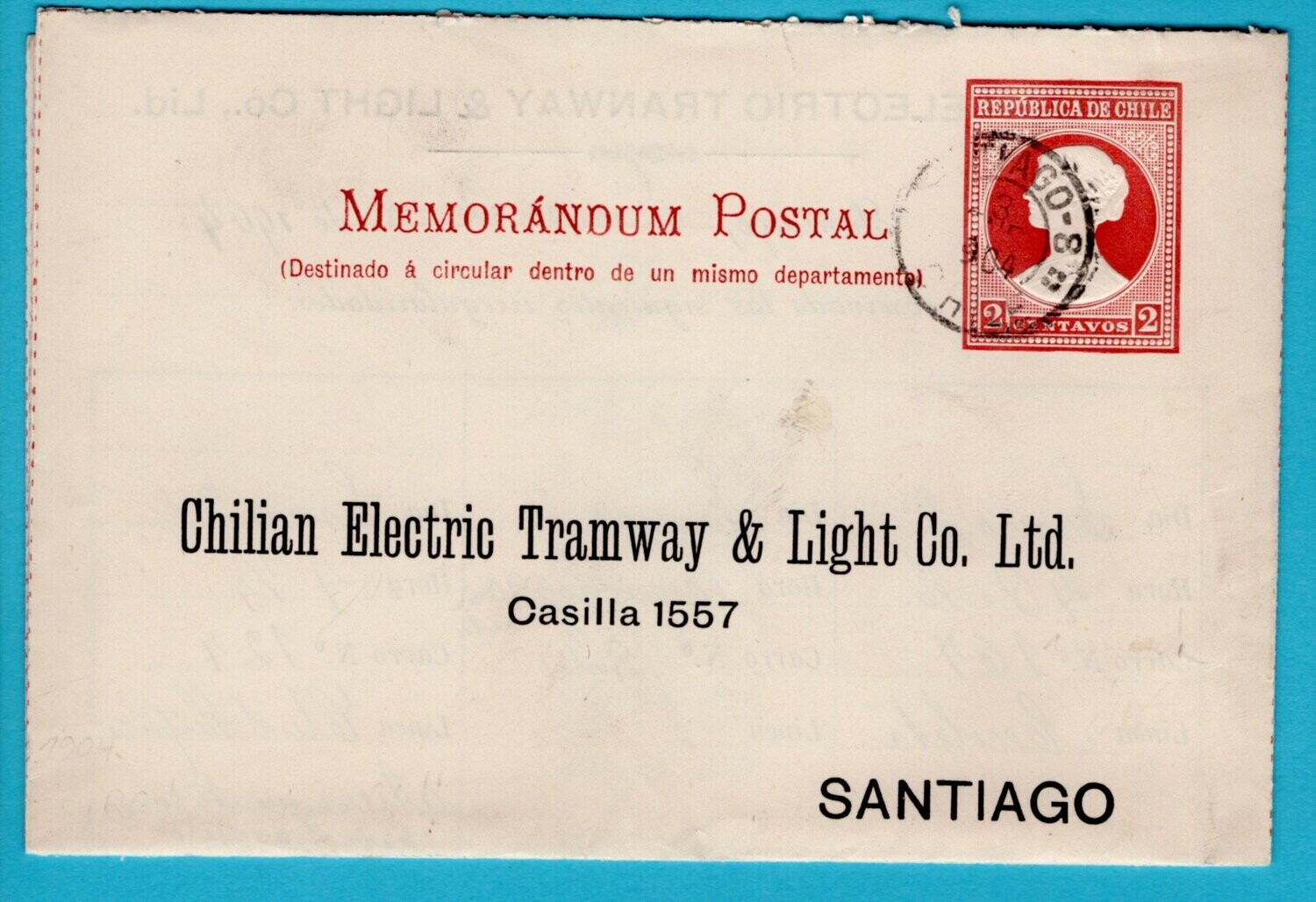 CHILE letter sheet 1904 Santiago Electric tramway
