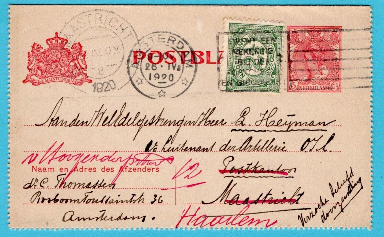 NEDERLAND postblad 1920 Amsterdam naar Maastricht doorgezonden