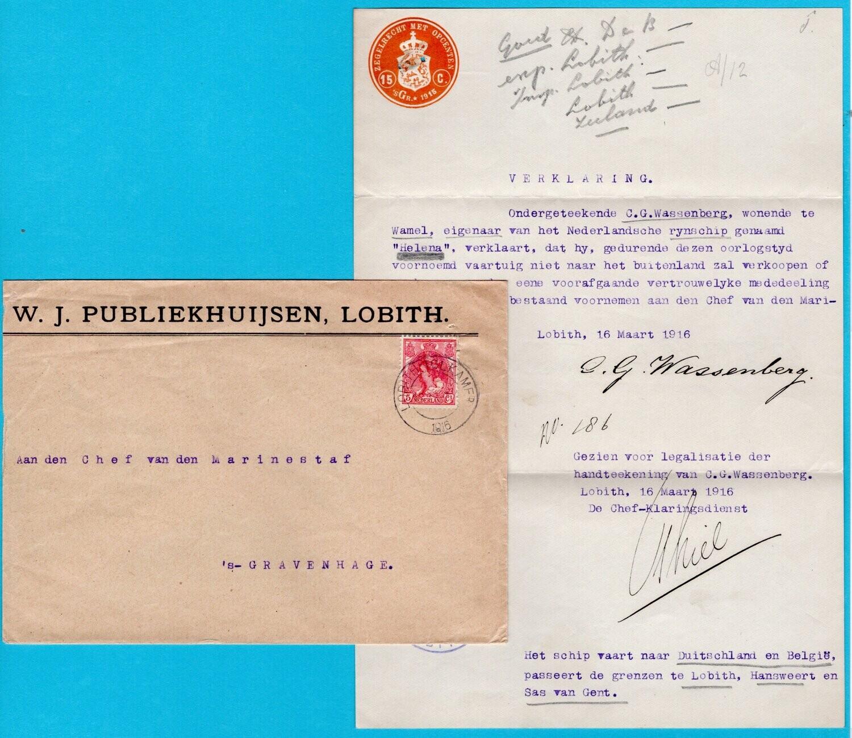 NEDERLAND brief 1916 Lobith Tolkamer met verklaring doorgang