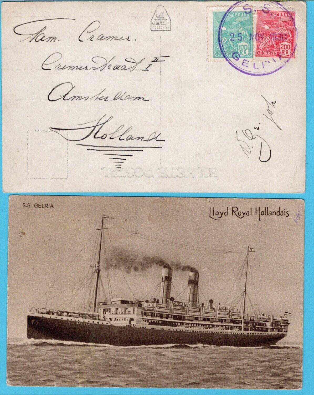 NEDERLAND briefkaart 1930 S.S. Gelria + scheeps prentbriefkaart 1922